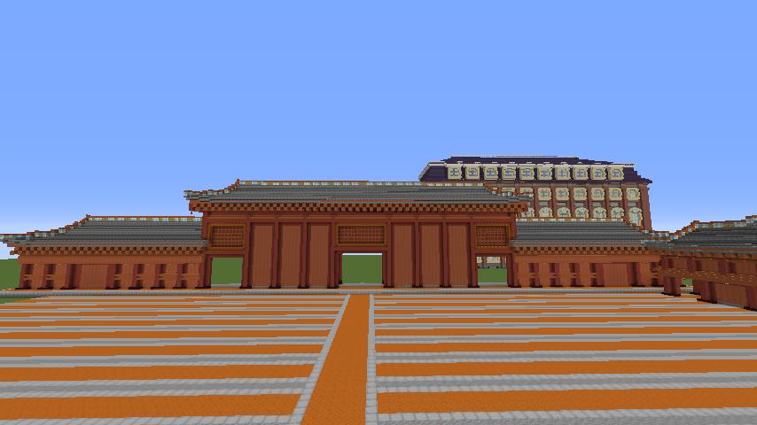 Minecrafterししゃもがマインクラフトで焼失した首里城奉神門をぷっこ村に再建する2