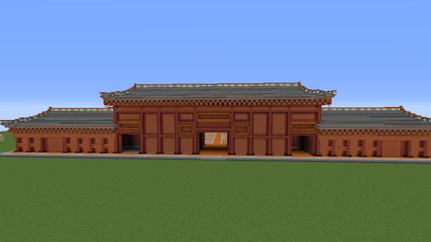 Minecrafterししゃもがマインクラフトで焼失した首里城奉神門をぷっこ村に再建する3