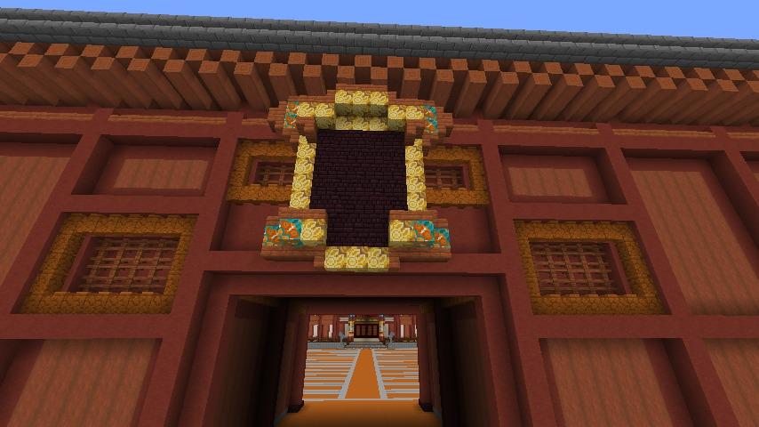 Minecrafterししゃもがマインクラフトで焼失した首里城奉神門をぷっこ村に再建する4