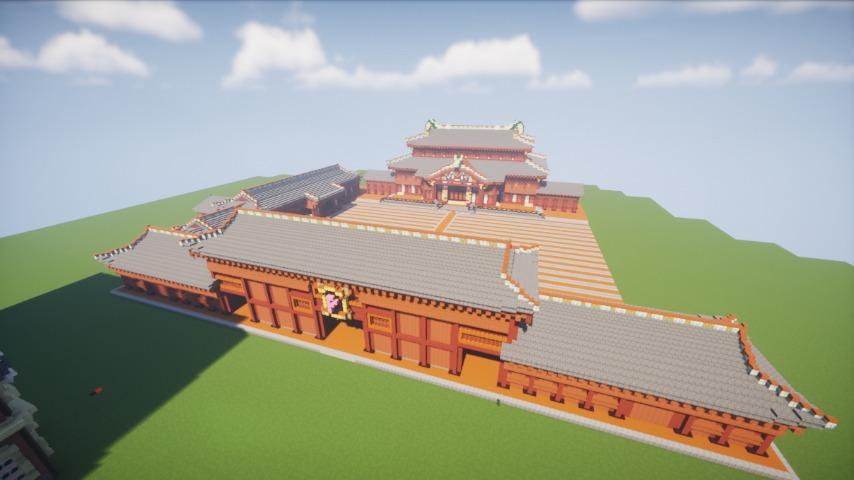 Minecrafterししゃもがマインクラフトで焼失した首里城奉神門をぷっこ村に再建する8