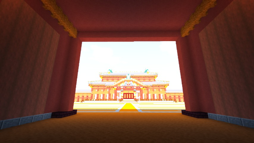 Minecrafterししゃもがマインクラフトで焼失した首里城奉神門をぷっこ村に再建する9