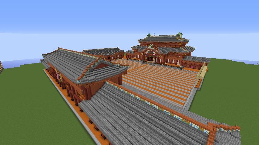 Minecrafterししゃもがマインクラフトで焼失した首里城南殿をぷっこ村に再建する1