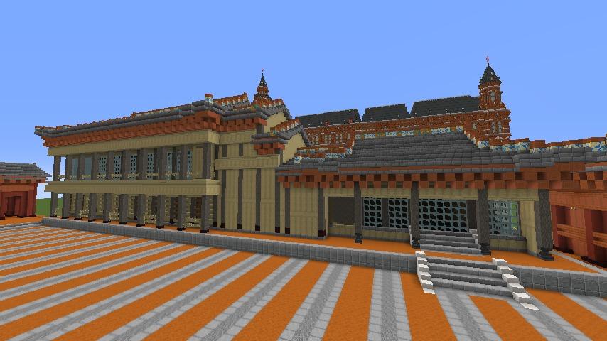 Minecrafterししゃもがマインクラフトで焼失した首里城南殿をぷっこ村に再建する5