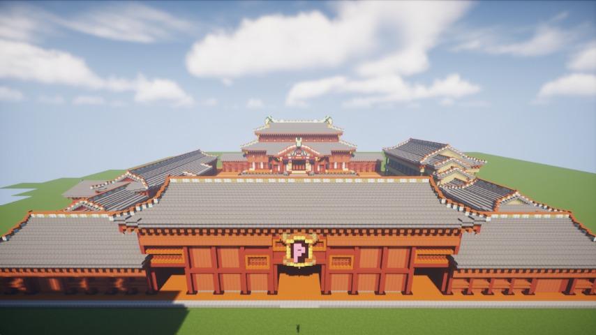 Minecrafterししゃもがマインクラフトで焼失した首里城南殿をぷっこ村に再建する9