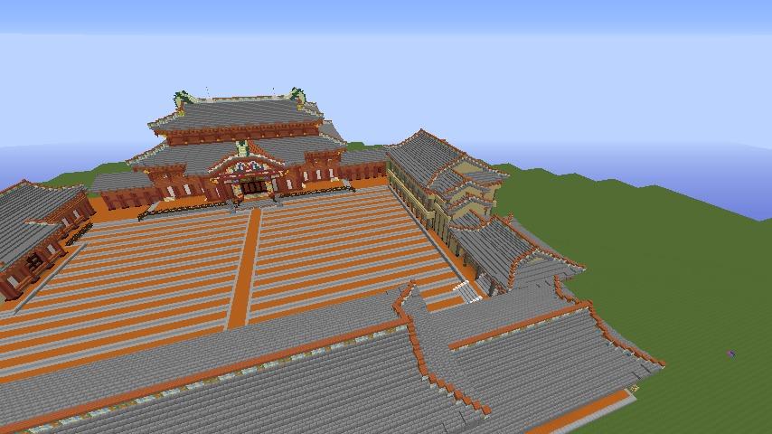 Minecrafterししゃもがマインクラフトで焼失した首里城の書院、鎖之間をぷっこ村に再建する1
