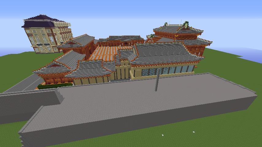 Minecrafterししゃもがマインクラフトで焼失した首里城の書院、鎖之間をぷっこ村に再建する2