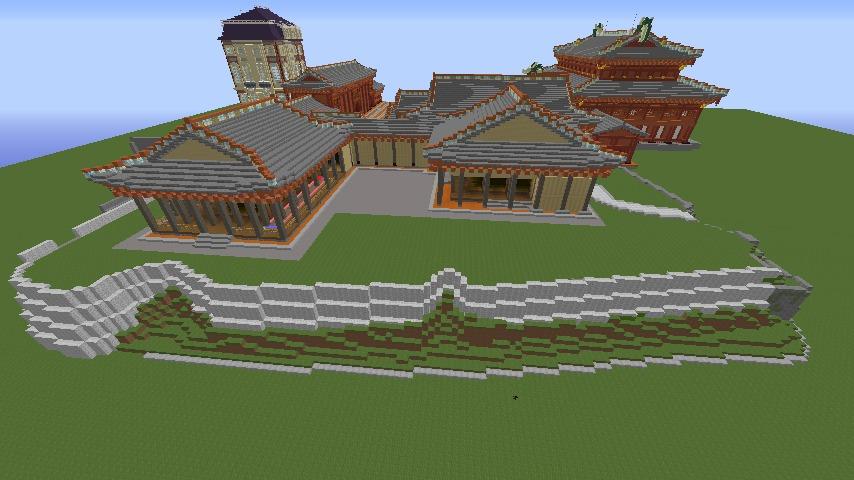 Minecrafterししゃもがマインクラフトで焼失した首里城の書院、鎖之間をぷっこ村に再建する3