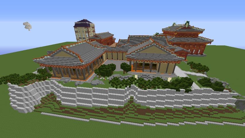 Minecrafterししゃもがマインクラフトで焼失した首里城の書院、鎖之間をぷっこ村に再建する4