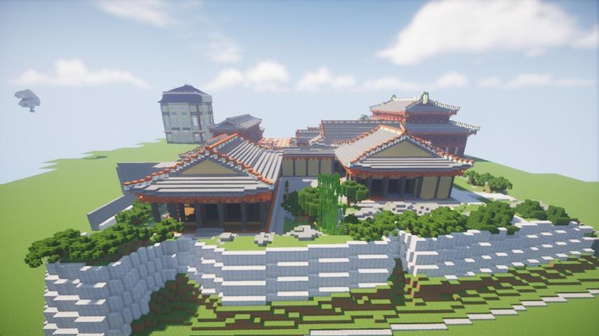 Minecrafterししゃもがマインクラフトで焼失した首里城の書院、鎖之間をぷっこ村に再建する9