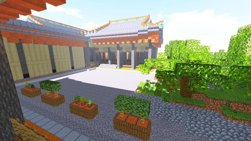 Minecrafterししゃもがマインクラフトで焼失した首里城の書院、鎖之間をぷっこ村に再建する10