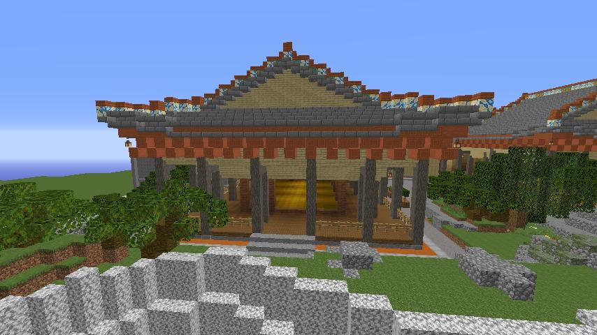 Minecrafterししゃもがマインクラフトで焼失した首里城の書院、鎖之間をぷっこ村に再建する7