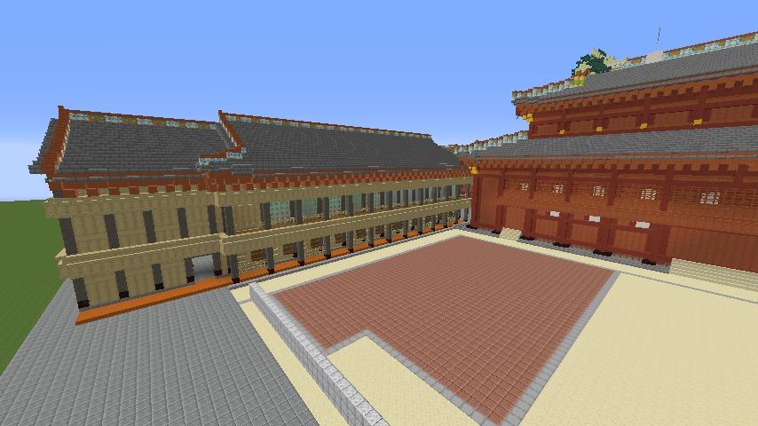 Minecrafterししゃもがマインクラフトで焼失した首里城の黄金御殿、寄満、近習詰所をぷっこ村に再建する3