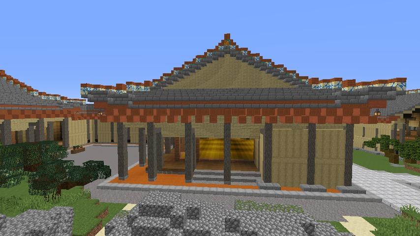 Minecrafterししゃもがマインクラフトで焼失した首里城の書院、鎖之間をぷっこ村に再建する8