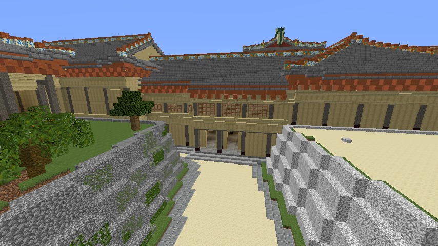 Minecrafterししゃもがマインクラフトで焼失した首里城の黄金御殿、寄満、近習詰所をぷっこ村に再建する6