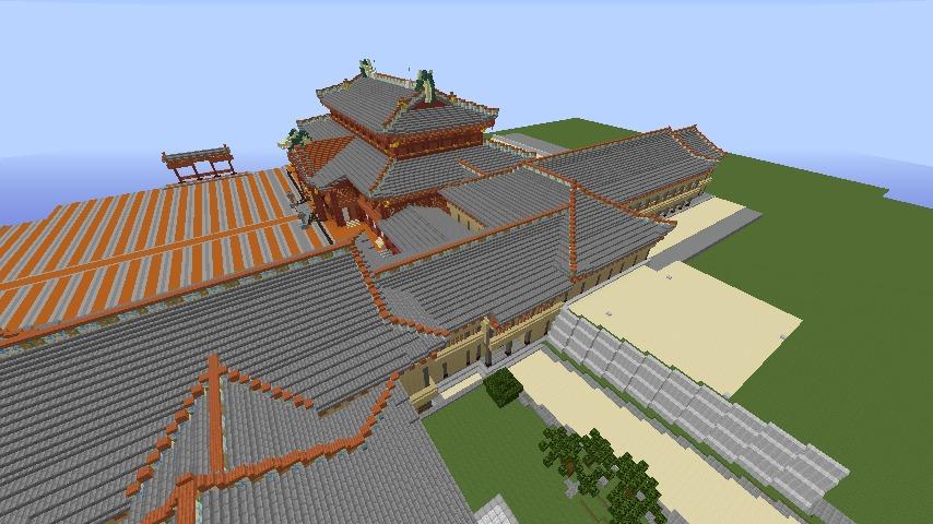 Minecrafterししゃもがマインクラフトで焼失した首里城の黄金御殿、寄満、近習詰所をぷっこ村に再建する8