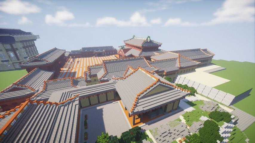 Minecrafterししゃもがマインクラフトで焼失した首里城の黄金御殿、寄満、近習詰所をぷっこ村に再建する10