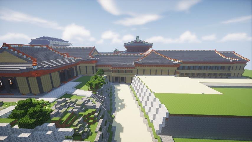 Minecrafterししゃもがマインクラフトで焼失した首里城の黄金御殿、寄満、近習詰所をぷっこ村に再建する9