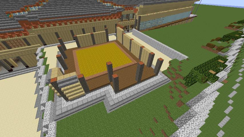 Minecrafterししゃもがマインクラフトで焼失した首里城の奥書院、二階御殿をぷっこ村に再建する2
