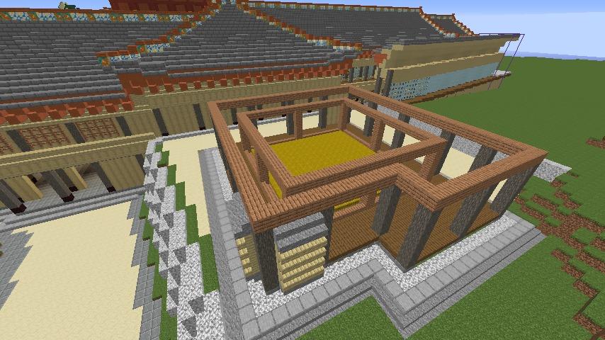 Minecrafterししゃもがマインクラフトで焼失した首里城の奥書院、二階御殿をぷっこ村に再建する3