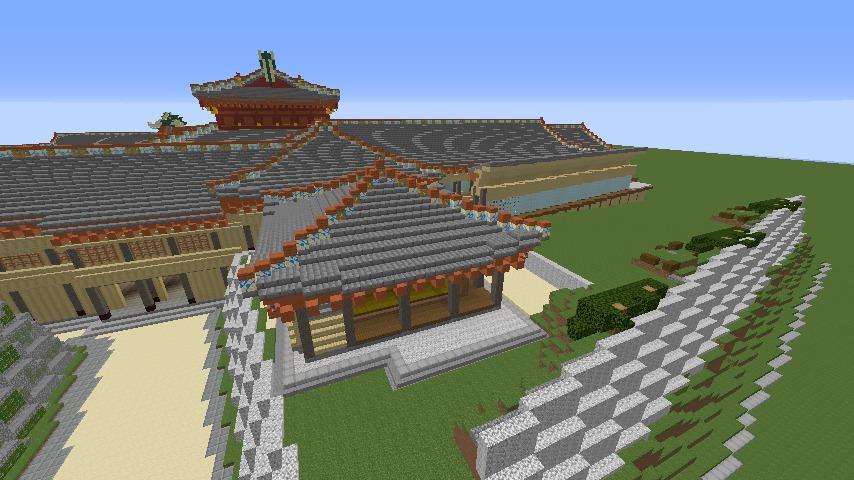 Minecrafterししゃもがマインクラフトで焼失した首里城の奥書院、二階御殿をぷっこ村に再建する4