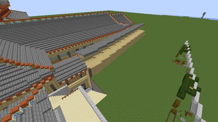 Minecrafterししゃもがマインクラフトで焼失した首里城の奥書院、二階御殿をぷっこ村に再建する5