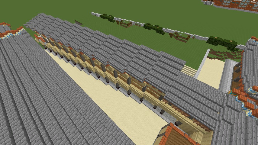 Minecrafterししゃもがマインクラフトで焼失した首里城の奥書院、二階御殿をぷっこ村に再建する6
