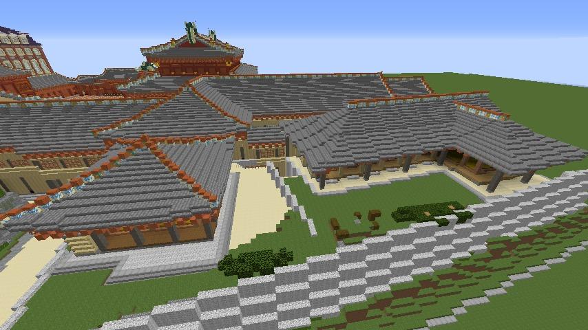 Minecrafterししゃもがマインクラフトで焼失した首里城の奥書院、二階御殿をぷっこ村に再建する7