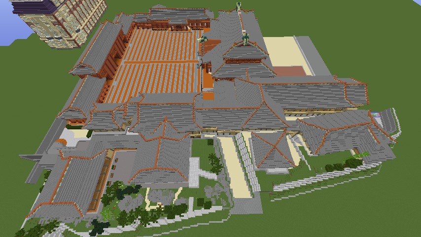 Minecrafterししゃもがマインクラフトで焼失した首里城の奥書院、二階御殿をぷっこ村に再建する12