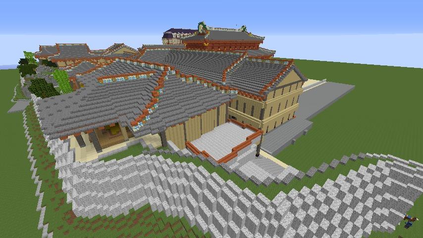 Minecrafterししゃもがマインクラフトで焼失した首里城の奥書院、二階御殿をぷっこ村に再建する8