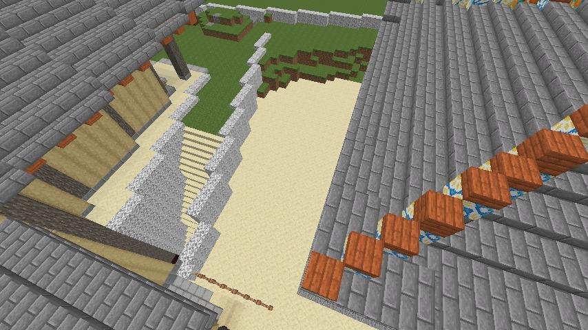 Minecrafterししゃもがマインクラフトで焼失した首里城の奥書院、二階御殿をぷっこ村に再建する9