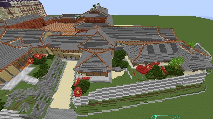 Minecrafterししゃもがマインクラフトで焼失した首里城の奥書院、二階御殿をぷっこ村に再建する11