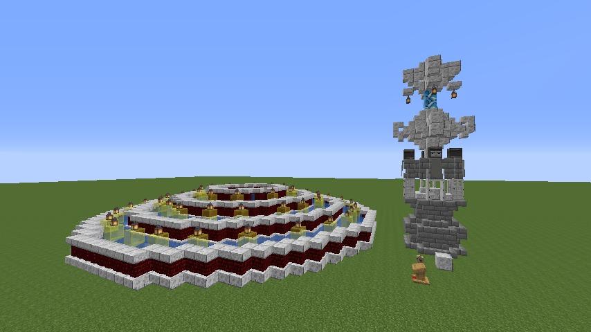 Minecrafterししゃもがマインクラフトでぷっこ村遺跡の螺旋噴水をつくる4