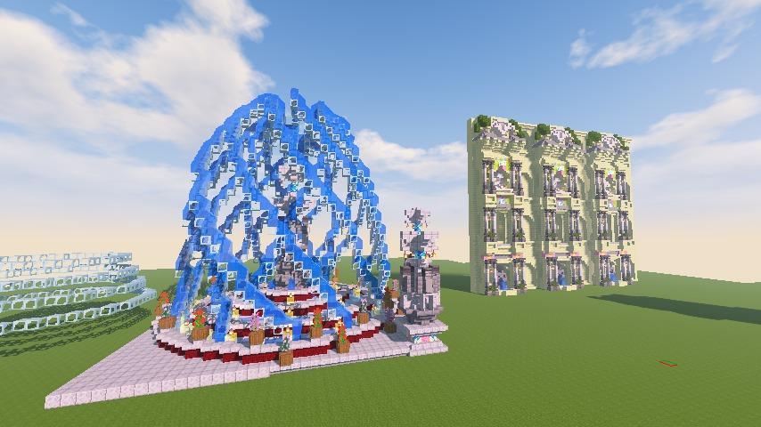 Minecrafterししゃもがマインクラフトでぷっこ村遺跡の螺旋噴水をつくる10