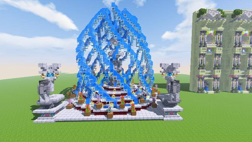 Minecrafterししゃもがマインクラフトでぷっこ村遺跡の螺旋噴水をつくる9