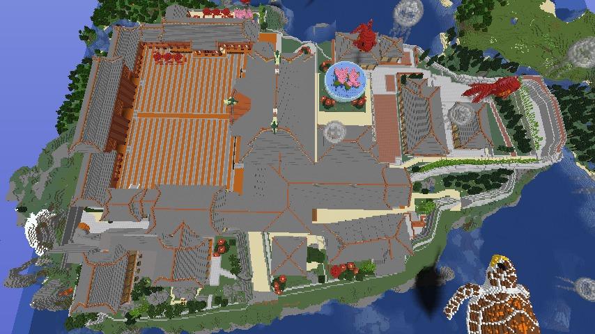 Minecrafterししゃもがマインクラフトでぷっこ村に首里城を再建できた2