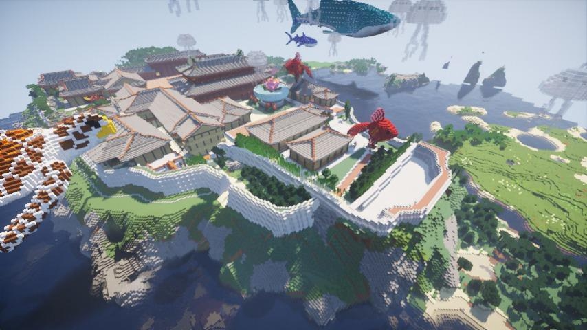 Minecrafterししゃもがマインクラフトでぷっこ村に首里城を再建できた5