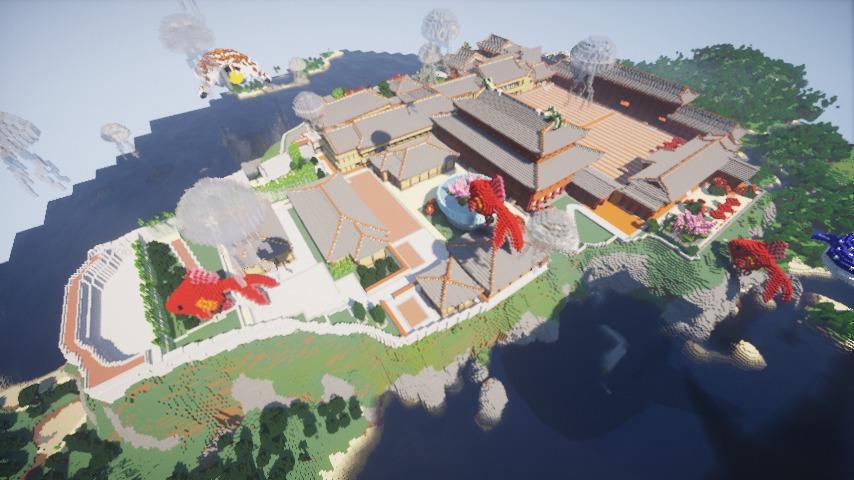 Minecrafterししゃもがマインクラフトでぷっこ村に首里城を再建できた4