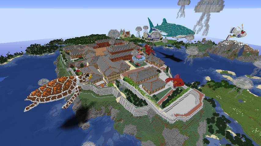 Minecrafterししゃもがマインクラフトでぷっこ村に首里城を再建できた1