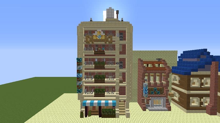 Minecrafterししゃもがマインクラフトで空中都市プコサヴィルのビルを作る4