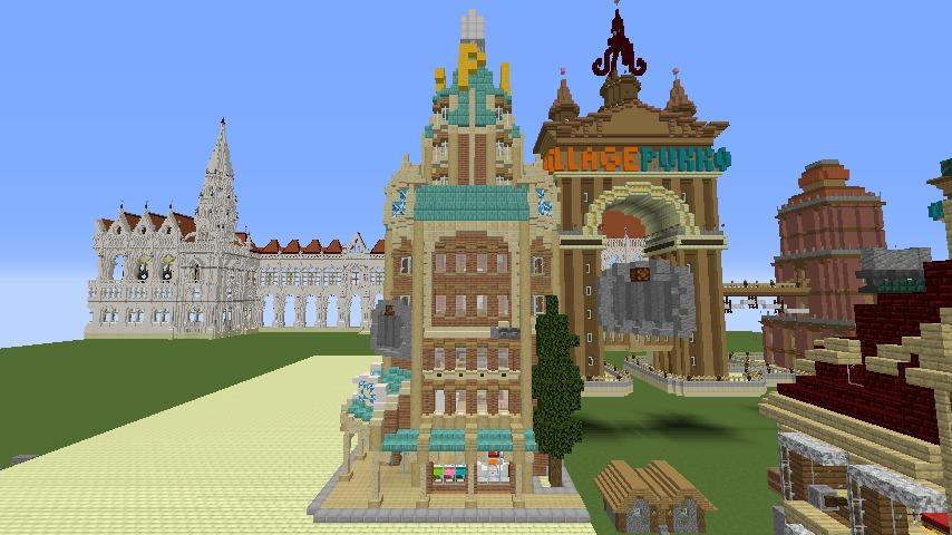 Minecrafterししゃもがマインクラフトで空中都市プコサヴィルのビルを作る12
