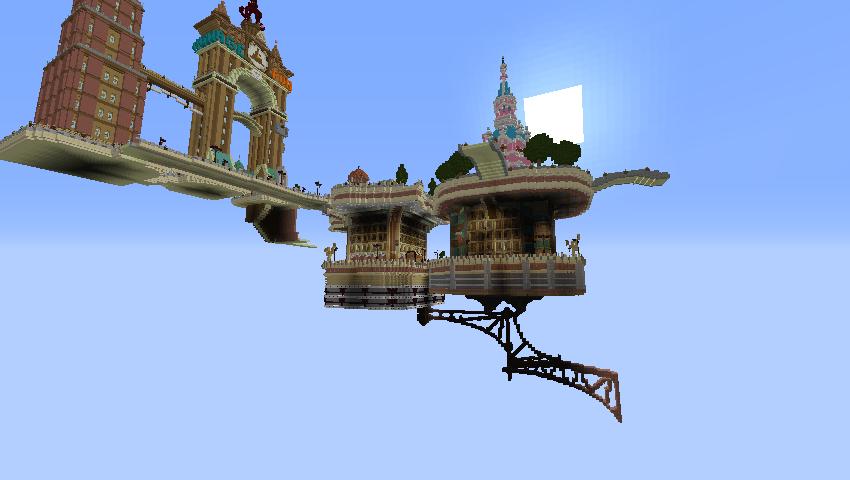 Minecrafterししゃもがマインクラフトで空中都市プコサヴィルの下層を作る4