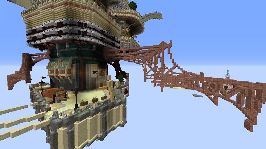 Minecrafterししゃもがマインクラフトで空中都市プコサヴィルの下層を作る6