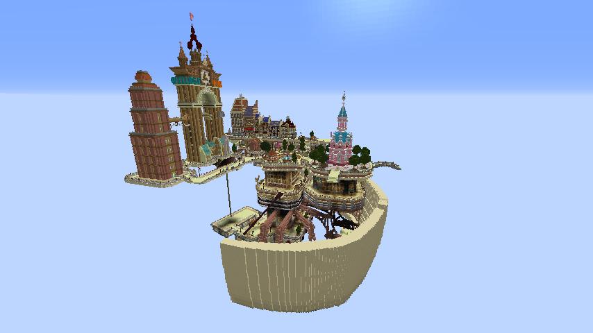 Minecrafterししゃもがマインクラフトで空中都市プコサヴィルの下層を作る7