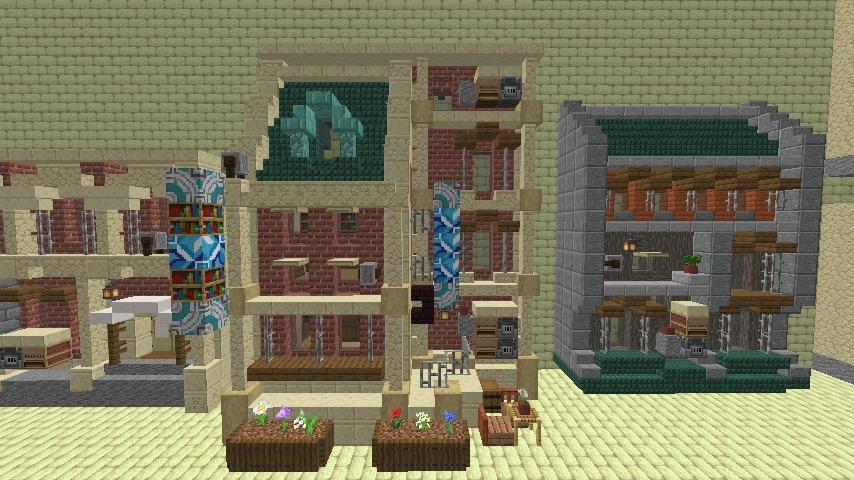 Minecrafterししゃもがマインクラフトで空中都市プコサヴィル下層の街並みを作っていく8