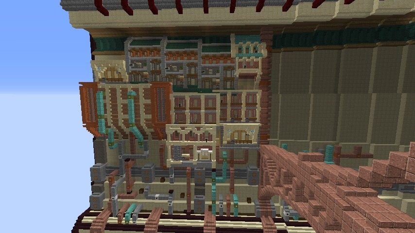 Minecrafterししゃもがマインクラフトで空中都市プコサヴィル下層の街並みを作っていく13