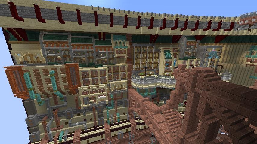 Minecrafterししゃもがマインクラフトで空中都市プコサヴィル下層の街並みを作っていく14