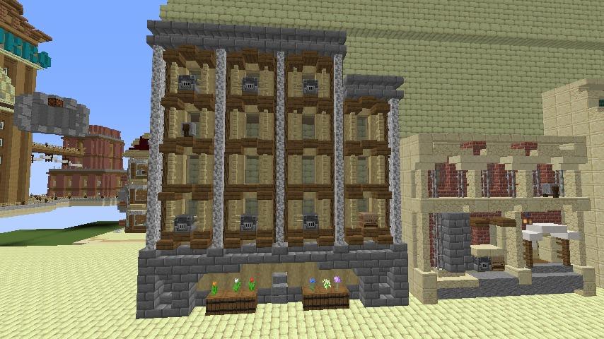 Minecrafterししゃもがマインクラフトで空中都市プコサヴィル下層の街並みを作っていく11