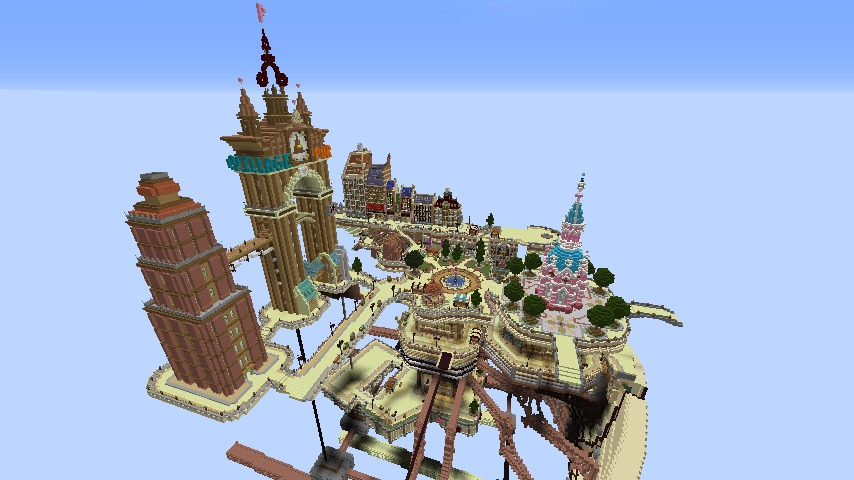 Minecrafterししゃもがマインクラフトで空中都市プコサヴィル下層の街並みを作っていく17