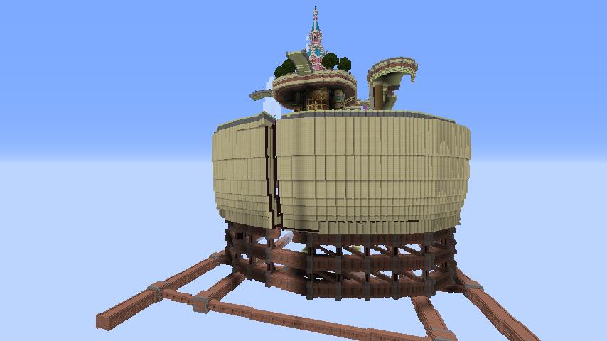 Minecrafterししゃもがマインクラフトで空中都市プコサヴィルの外殻を作る3