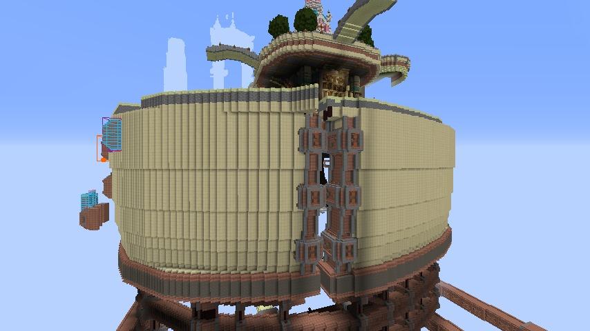 Minecrafterししゃもがマインクラフトで空中都市プコサヴィルの外殻を作る4